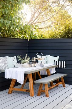 Reno School Tip 🛠 How to create an outdoor dining nook: build privacy screen at edge of deck - we used Linea cladding Scyon attached to a timber frame Outdoor Seating Areas, Outdoor Rooms, Outdoor Furniture Sets, Outdoor Decor, Rustic Furniture, Antique Furniture, Deck Bench Seating, Modern Furniture, Furniture Design