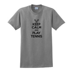 Keep Calm and Play Tennis T-Shirt Medium Sport Grey * More info could be found at the image url.
