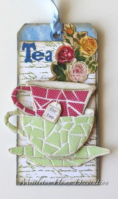 12 tags of 2016 - April - Tim Holtz - Making mosaic - Tea for two - Sizzix Tea Time Bigz Die