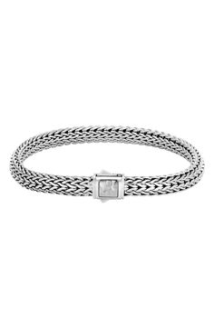 New John Hardy Classic Chain Medium Hammered Clasp Bracelet,Silver fashion online. [$550]newoffershop win<<