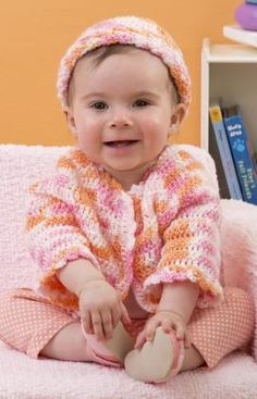 """Twin Sweater Set - Almost too cute for words, this darling set of sweater and cap will keep your little one cozy. Crossed stitches make it interesting to crochet while adding a designer touch. RH Baby TLC: 2 (2,2) balls Strawberry Orange OR 2 (2,2)balls Baseball  Crochet Hook: G/6/4mm [US ]  Split-ring stitch markers, three 3/8"""" (9.5 mm) buttons, yarn needle Size:  Directions for size newborn. Chgs for sizes 6M +12M are in ( ). free pdf from RH"""