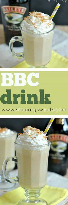 Creamy, Banana Baileys Coconut drink (aka BBC) is perfect any time of year! Cheers!