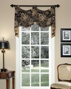 Valdosta Empire Pole Swags, showcasing sophisticated color & the timeless beauty of a Jacobean floral, are printed on a soft linen & rayon fabric that drapes beautifully.