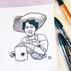 #inktober Day 13: Alice Guy-Blaché > Filmmaking pioneer.  She was a French filmmaker and the first director and writer of fiction films. She shaped what it meant to be a director as the role is defined today. Guy-Blaché made more than 1000 films and ran her own film studio in New Jersey and experimented with sound syncing system color tinting interracial casting and special effects.     #inktober #inktober2017 #ink #drawing #illustration #wonderwomen #aliceguyblache #aliceguy #filmmaker…