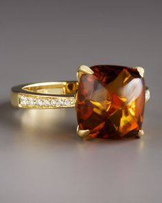 Frederic Sage Jelly Bean Citrine Diamond Ring