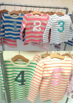 New Bob and Blossom Numbers T-shirt colourways for Spring 2013: Sailor Blue & Sand, Posy Pink & Sand, Breton White & Grey Stripe, Breton Gooseberry & Cream and Breton Peaches & Cream. Arriving any day now!