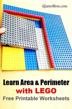 LEGO Movie Hands-On Geometry for kids learn area and perimeter, with free printable math worksheets. Grade 3-5 math center or math class supplement. Manipulative LEGO Math learning ideas for math center and after school supplements | STEM #MathAcitivities #STEMforKids #iGameMomSTEM