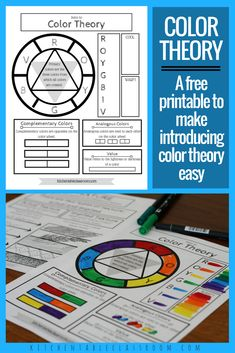 Use this free printable resource as an easy way to teach color theory.  The concepts of primary colors, secondary colors, complementary colors, analogous colors,  value, and ROYGBIV are all introduced here.