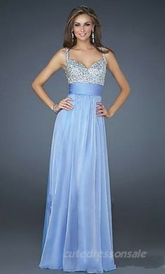 Sleeveless Empire Prom Dresses Long Spaghetti Strap Prom Dresses 05392