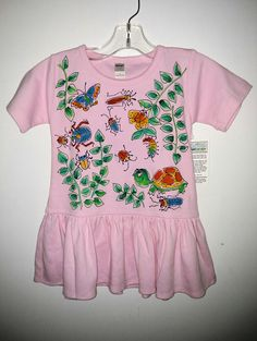 Toddler 2T Pink Dress Jungle Critters Handpainted by DeborahWillardDesign on Etsy