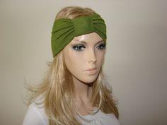 Olive Green Yoga headband Turban Headband by OtiliaBoutique, $14.50