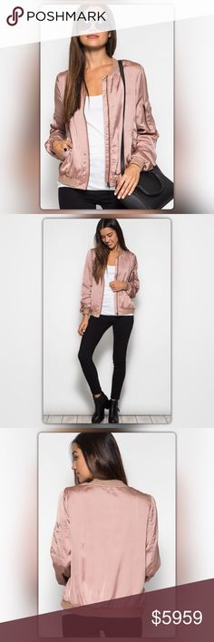 Coming Soon! Dusty Rose Satin Bomber Jacket Coming Soon! Get the look of the season! Bomber jackets are back. Put a girly twist on this classic look with a sweet, but sassy, dusty rose color. The jacket has side pockets and a zipper detail on the sleeves. Like to be notified when it arrives or comment to pre-order for only $49 (Regular Price $59). NEW Boutique Jackets & Coats