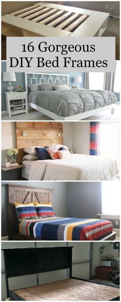 "75"" wide x 55-57"" tall with a ledge for photos. 16 Gorgeous DIY Bed frames • Tutorials!"