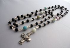 Obsidian and Amazonite Rosary. Silver plated by SunshinesPush, $75.00