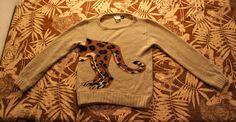 "Vintage KRIZIA Leopard Sweater // I'm 1/2 Jungle Cat // Italian Designer Art Knit Sweater // 1980's Krizia Maglia Animal Sweater // 36"" Bust"