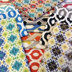 New Swavelle/Mill Creek Indoor/Outdoor fabric! Awesome designs and colors, perfect for patio cushions, pillows & tabletop! #swavellemillcreek #sewinlove #homedecor #fabricdotcom #outdoorfabric