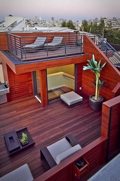 73 Best Terrace Design Ideas For Relaxing At Home | kevoin.com #terrace #terraceideas #terracedesign Roof Terrace Design, Rooftop Design, Deck Design, Design Design, Garden Design, Rooftop Terrace, Small Terrace, Rooftop Lounge, House Plans
