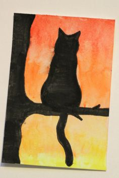 A Silhouette in the Sunset  Cat Watercolor by RaeosunshinePets, $10.00
