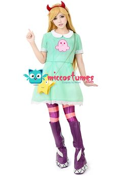 girls princess star butterfly cosplay costume green dress including hair accessorystar bag and shoe covers