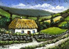 Items similar to Honeysuckle cottage - print of an original painting by Tanya Bond - beautiful Irish landscape with rolling hills on Etsy Honeysuckle Cottage, Irish Landscape, Irish Cottage, Irish Art, Ink Illustrations, Reference Images, Cute Art, Painted Rocks, Original Paintings