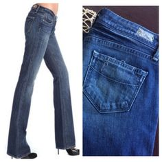 26a69dffaa897 Paige Montecito Jean Dark wash, lightly distressed Montecito cut jeans from  Paige premium denim. Sz runs TTS in my opinion. Leg opening is a boot cut.