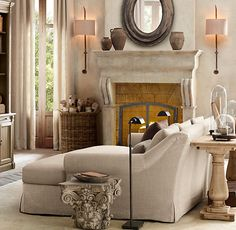 Very comfortable and cozy looking. Simple, monochromatic full of light and texture. Restoration Hardware
