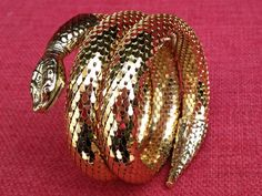 Vintage Serpent 3 Coil Bracelet by Hoopties on Etsy