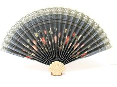Vintage Hand Held Fan with Shell Base / Blue by CreekLifeTreasures