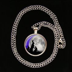 Moon Gazing Hare Family Glass Image Pendant by FirwelCrafts