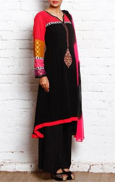 Magnificent Black Ready Made Palazo Salwar Kameez