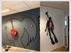 'Creative wall painting using fire extinguisher'. What a perfect, creative idea. This would make fire extinguishers less missable and more noticeable, but in a good way. Creative Wall Painting, Creative Walls, Creative Design, Smart Design, Creative Office Space, Office Interior Design, Office Interiors, Interior Walls, Cool Office