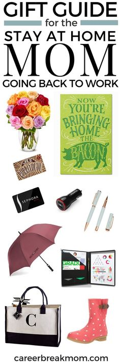 Gift Guide for Stay at Home Moms Going Back to Work | Do you know a stay at home mom returning to work soon? Here are some great ideas for gifts for a mom going back to work after a break. Or, are you the mom going back to work? Take a look at this list to help pamper yourself or plan what you need for #backtowork #SAHM #workingmom #goingbacktowork #returntowork #career #giftsforher #giftsformom #giftsforwomen via Career Break Mom | Strategies for Career Breaks & Returning to Work or Business