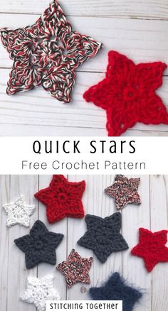 crochet applique A simple crochet star pattern perfect for using up scrap yarn. They are great to make them for holidays or party decorations. Visit to get the free pattern. Crochet Star Patterns, Crochet Pattern Free, Crochet Stars, Crochet Motif, Crochet Stitches, Free Christmas Crochet Patterns, Crochet Roses, Crochet Angels, Crocheted Flowers