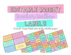 """Editable Bright Teacher Toolbox Labels This product is perfect for every room because the """"Teacher Toolbox"""" is super popular right now! Grab this set that contain 50 pre-made labels and then an editable powerpoint if you need specific things for your"""