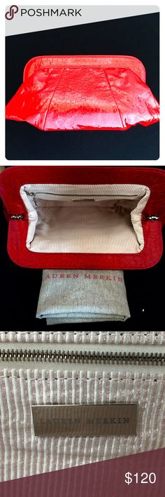 """Lauren Merkin Tatum Clutch Lipstick red croc-embossed leather clutch. Snap-hinge closure. Interior lining in metallic gold and cream stripes; has 1 zippered compartment and signature logo on stainless steel tag. Comes with dust bag. Dimensions: 13""""L X 7""""W X 1.5"""" D. Pre-owned but never used. Lauren Merkin Bags Clutches & Wristlets"""