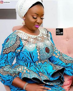 get the latest and most trendy Ankara Styles of the this year 2019 that will inspir African Blouses, African Lace Dresses, African Dresses For Women, African Attire, African Wear, African Women, African Fashion Ankara, Latest African Fashion Dresses, African Print Fashion