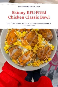 Click now to learn how to make this Skinny KFC Fried Chicken Classic Bowl using an air fryer! Indulge without adding unhelathy weight. Kfc Chicken Recipe, Fried Chicken, Recipe Spice, Chicken Recipes, Healthy Chicken, Chicken Tacos, Ww Recipes, Copycat Recipes