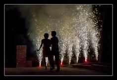 Wedding photographer Candid Photos of a Lifetime - Leaving the reception with a fireworks display   Mission Hills, Kansas City, USA www.candidphotosofalifetime.com.au
