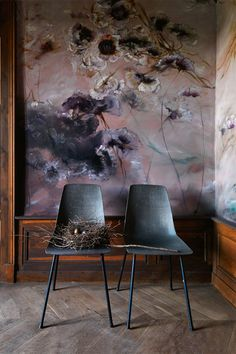 Wall mural in a bedroom in Claire Basler's home, France
