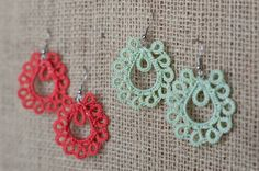 Kachin+Earrings+Small+Tatted+Paisleys+in+Coral+or+by+hilltribers,+$22.00
