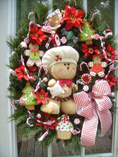 Christmas Wreath - Gingerbread Candy Wreath - Cookie Baker. $89.99, via Etsy.