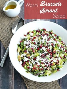 Warm Brussels Sprouts Salad with Pomegranate and Goat Cheese.  Easy side dish recipe.