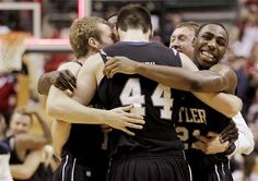 butler bulldogs celebrating after beating purdue :)