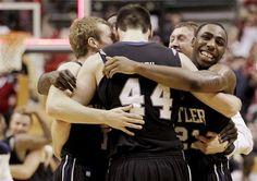 butler bulldogs celebrating after beating purdue :) Butler Basketball, Basketball Teams, College Basketball, Butler Bulldogs, Nba, Live, Celebrities, Sports, Hs Sports