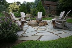 Flagstone And Pea Gravel Patio Flagstone Patio With Fire Pit. Introduced Over A 6 Compacted Stone … - All For Garden Fire Pit Landscaping, Fire Pit Backyard, Backyard Patio, Backyard Seating, Landscaping Ideas, Diy Patio, Pea Gravel Patio, Flagstone Patio, Concrete Patio