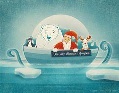 Climate Refugees  #globalwarming #climaterefugees #cop21 #santa #polarbear #pinguin