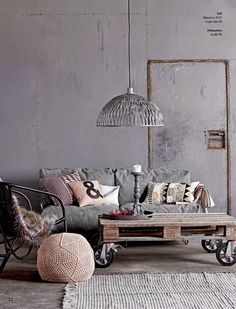 Gray colour palette and upcycled furniture