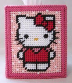 Free Plastic Canvas Tissue Box Patterns | Hello Kitty tissue box cover in plastic canvas PATTERN