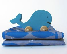 Wooden Whale Toy and Organic Burp Cloth Set- Nautical Nursery Gift Set