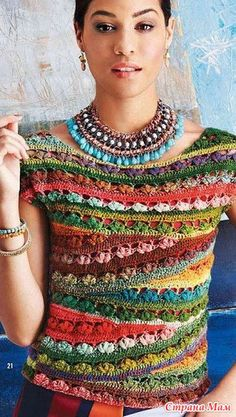 "WOW! If only I could read a ""crochet chart"" I'd try this!  Crochet top, unusual and very pretty"